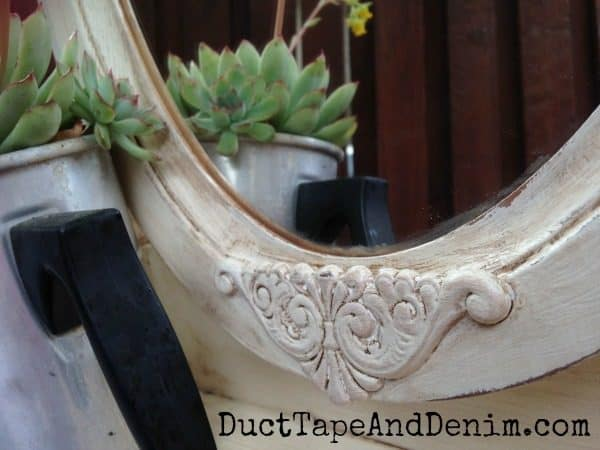 Close up of detail in my thrift store mirror makeover | DuctTapeAndDenim.com