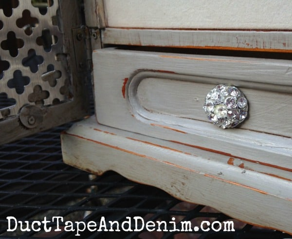 Close up of the inside drawer on my vintage jewelry cabinet makeover | DuctTapeAndDenim.com