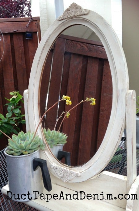 Completed thrift store mirror makeover | DuctTapeAndDenim.com