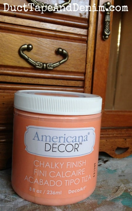 DecoArts Americana Decor Chalky Finish Paint in Smitten. Used this on my jewelry cabinet makeover. | DuctTapeAndDenim.com