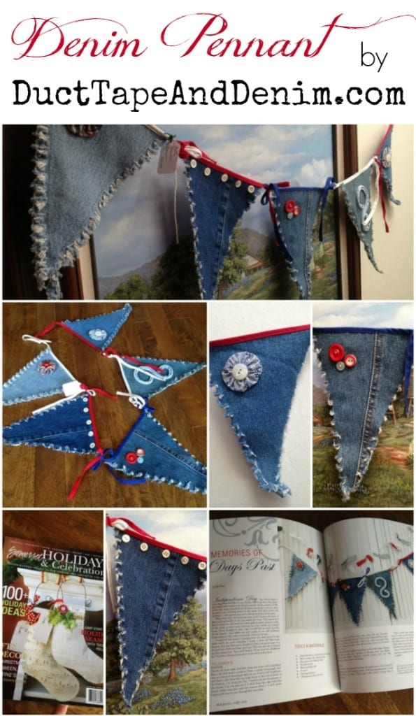 Denim Pennants or a 4th of July banner from recycled blue jeans.   DuctTapeAndDenim.com