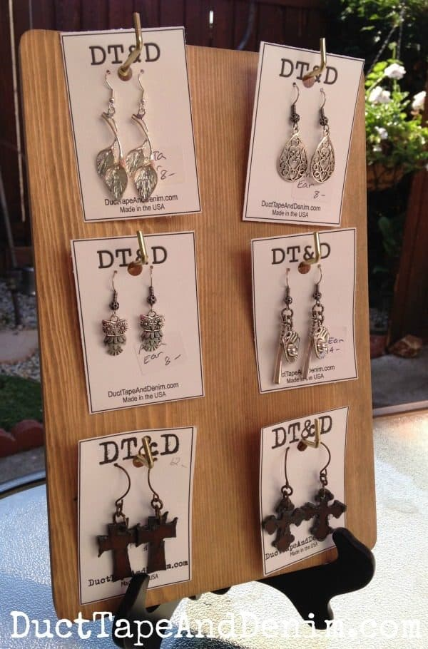 Finished earring display | DuctTapeAndDenim.com