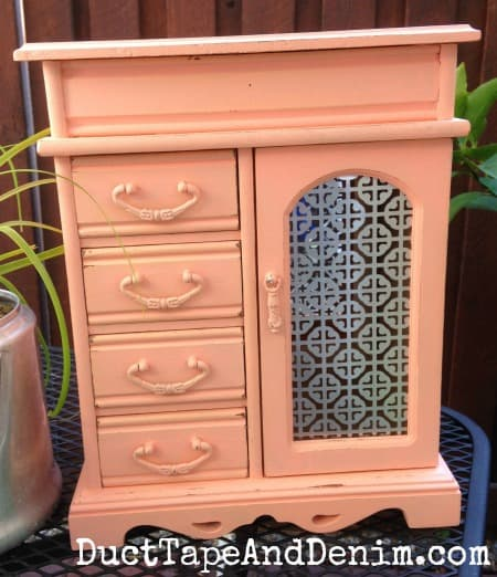 Finished jewelry cabinet in SMITTEN DecoArts Chalky Finish paint | DuctTapeAndDenim.com