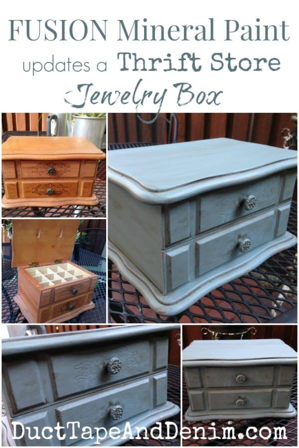 Fusion Mineral Paint updates a thrift store jewelry box. My blue jewelry box makeover. | DuctTapeAndDenim.com