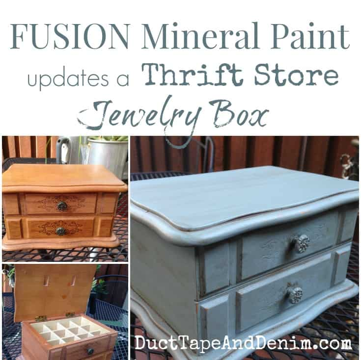 Fusion Mineral Paint updates a thrift store jewelry box. | DuctTapeAndDenim.com