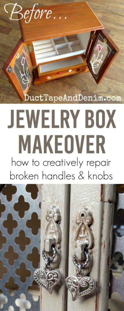 Gray jewelry box makeover, how to creatively repair broken handles and knobs on vintage jewelry cabinet | DuctTapeAndDenim.com