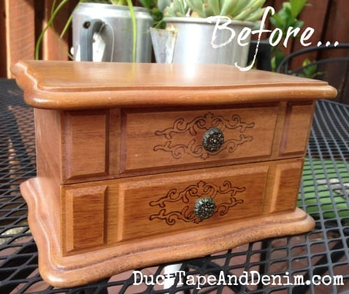 Here's what the jewelry box looked like when I bought it at the thrift store | DuctTapeAndDenim.com