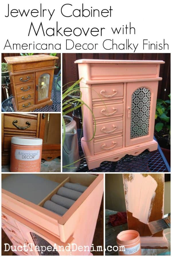 Jewelry cabinet makeover with Americana Chalky Finish paint | DuctTapeAndDenim.com