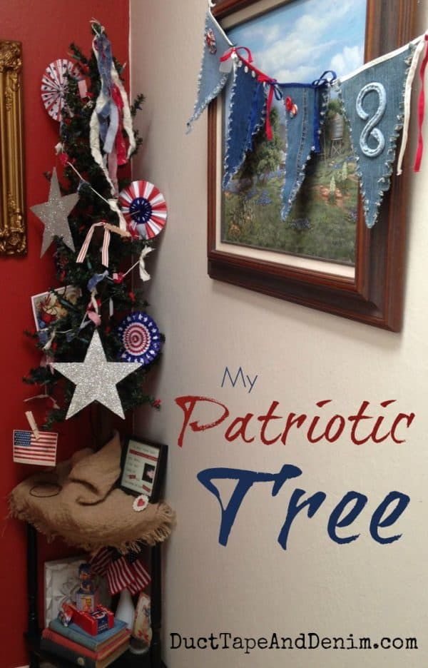 My patriotic Christmas tree. I'm keeping this up from Memorial Day through July 4th   DuctTapeAndDenim.com