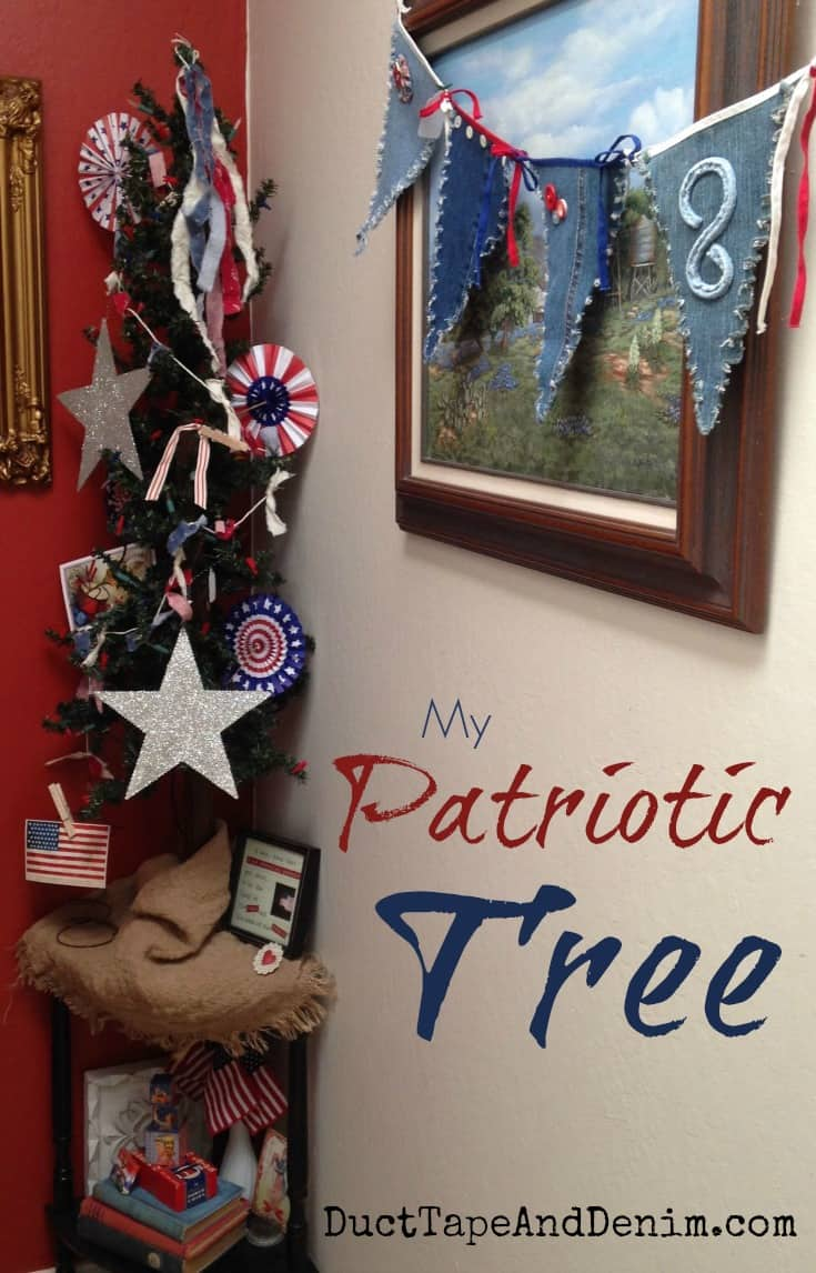 My Patriotic tree.  I'm keeping this up from Memorial Day through July 4th | DuctTapeAndDenim.com