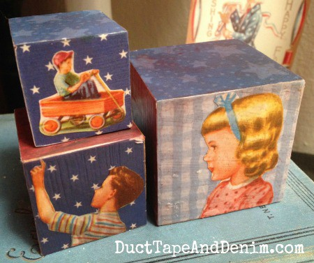 Patriotic blocks for Memorial Day and 4th of July with vintage children's illustrations | DuctTapeAndDenim.com