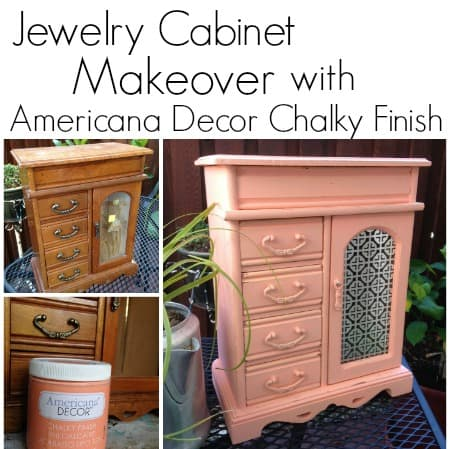Americana decor chalky finish paint on jewelry cabinet for Wholesale chalk paint