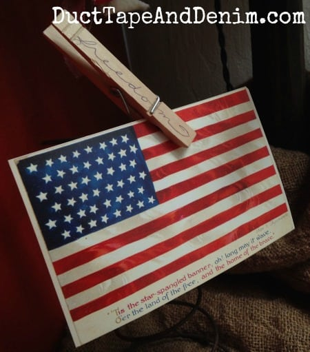 Star-spangled banner American flag vintage post card and FREEDOM clothes pin