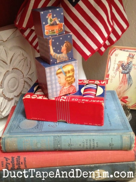 Vintage books in my patriotic decor | DuctTapeAndDenim.com