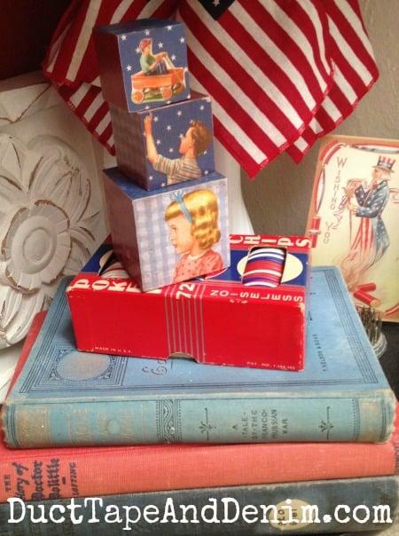 Vintage books in my patriotic decor | DuctTapeAndDenim.com