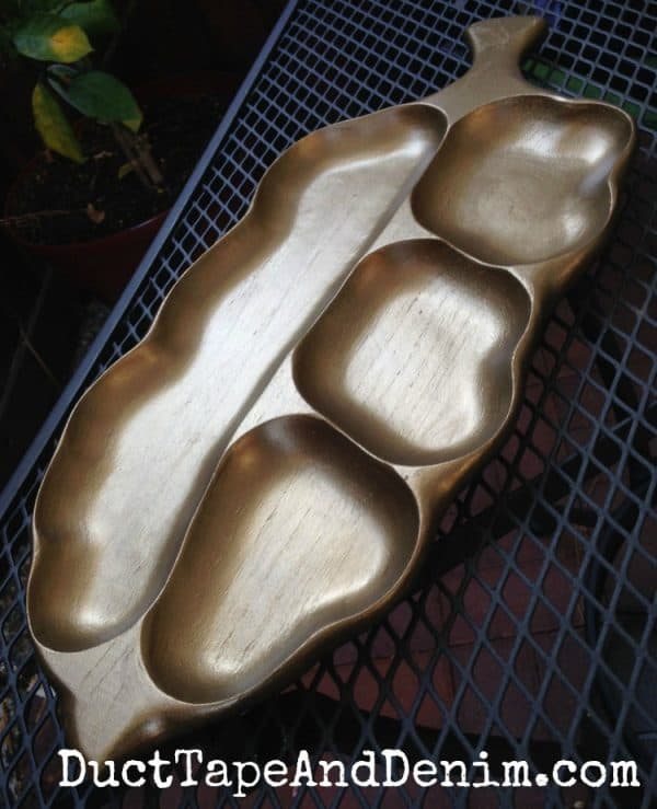 AFTER - Vintage leaf dish painted with Modern Masters metallic paint | DuctTapeAndDenim.com