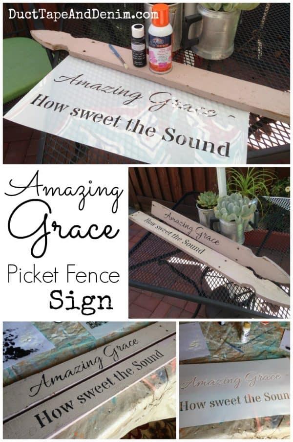Amazing Grace picket fence sign collage