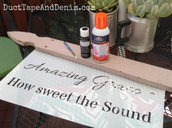 Amazing Grace stencil sign project