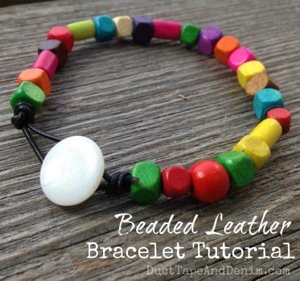 Beaded Leather Bracelet Tutorial on DuctTapeAndDenim.com