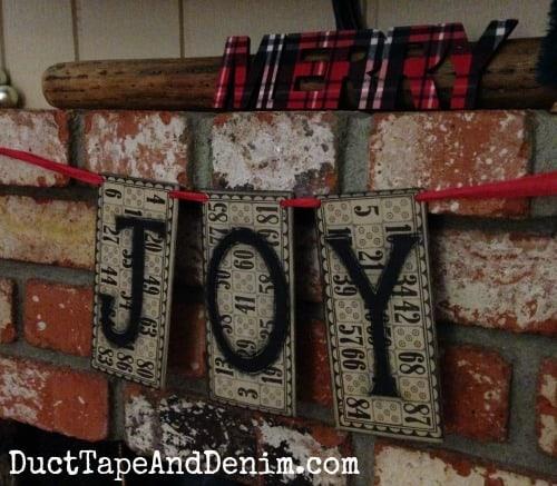 JOY vintage Bingo card Christmas garland | DuctTapeAndDenim.com