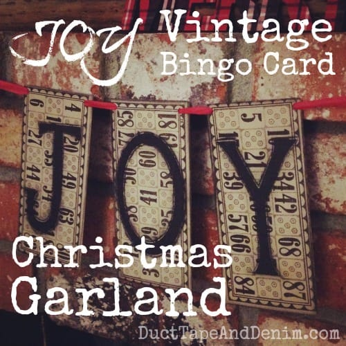 JOY Vintage Bingo Card Christmas Garland