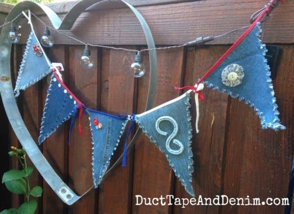 My denim pennant made from hubby's old blue jeans | DuctTapeAndDenim.com