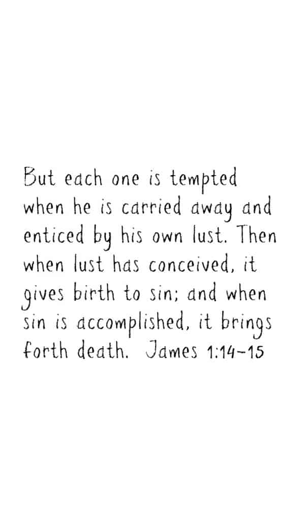 James 1:14-15 Scripture memory iPhone wallpaper. More Bible verses available on DuctTapeAndDenim.com