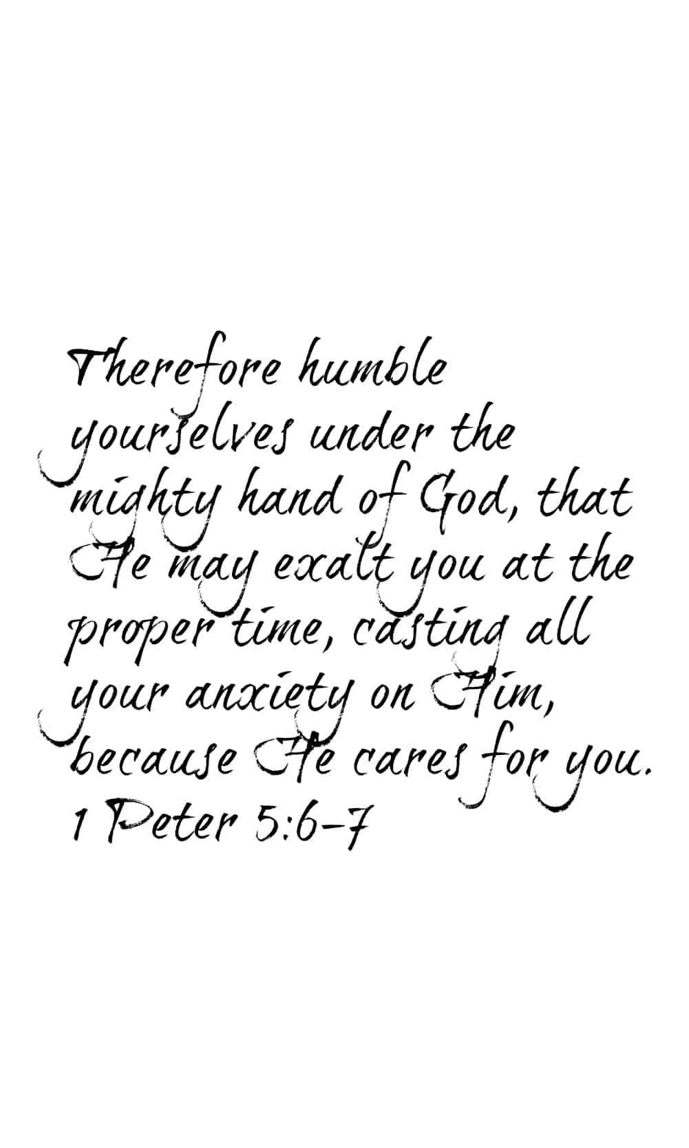 1 Peter 5:6-7 | Scripture Memory Wallpaper for iPhones