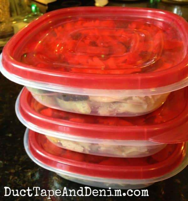 Pasta salad cooked on the weekend and packed up for lunches | DuctTapeAndDenim.com