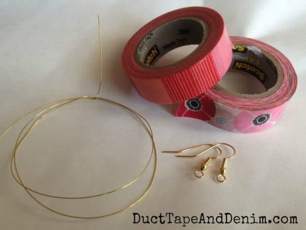Supplies needed to make washi tape feather earrings | DuctTapeAndDenim.com