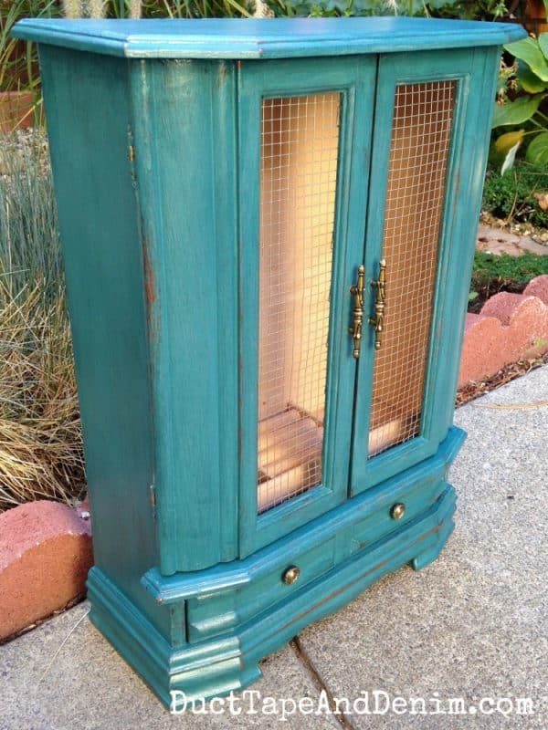 Teal jewelry cabinet | DuctTapeAndDenim.com