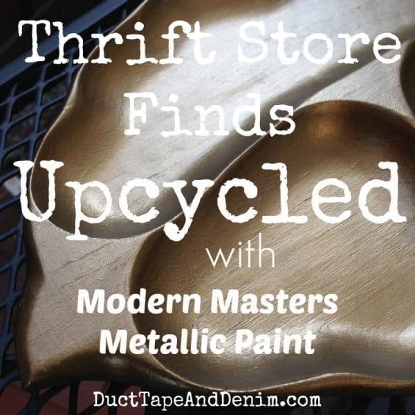 Thrift store finds upcycled with Modern Masters metallic paint | DuctTapeAndDenim.com