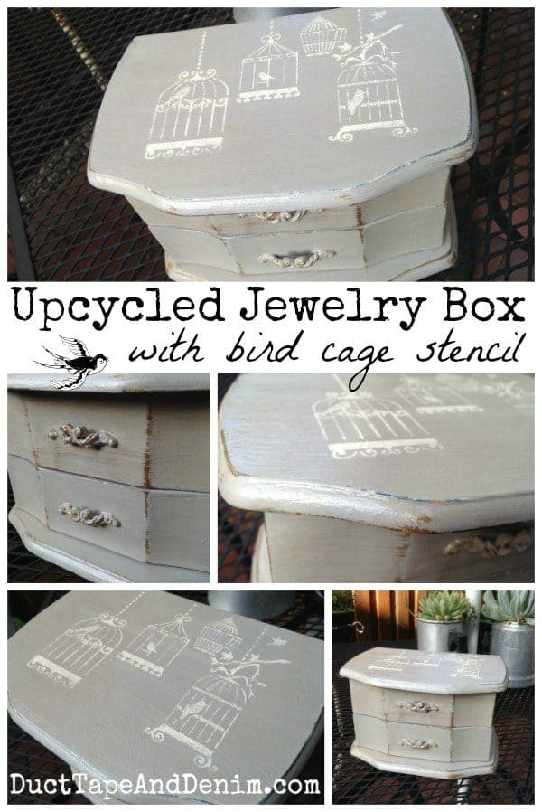 Upcycled jewelry box DIY with bird cage stencil, thrift store makeover | DuctTapeAndDenim.com