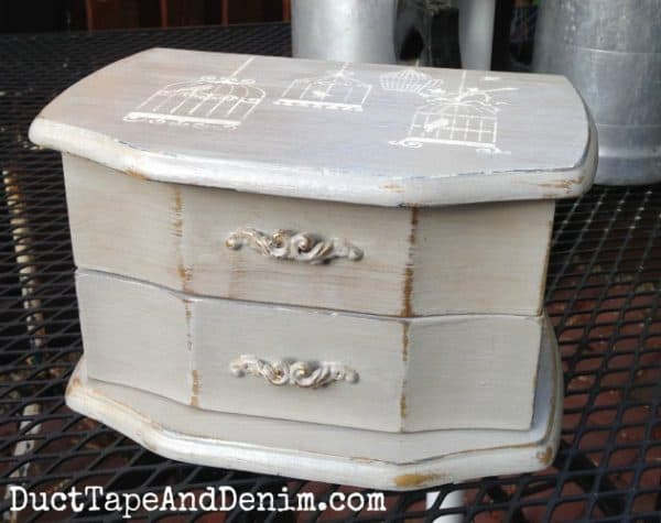 Vintage jewelry box painted in CeCe Caldwell's Seattle Mist