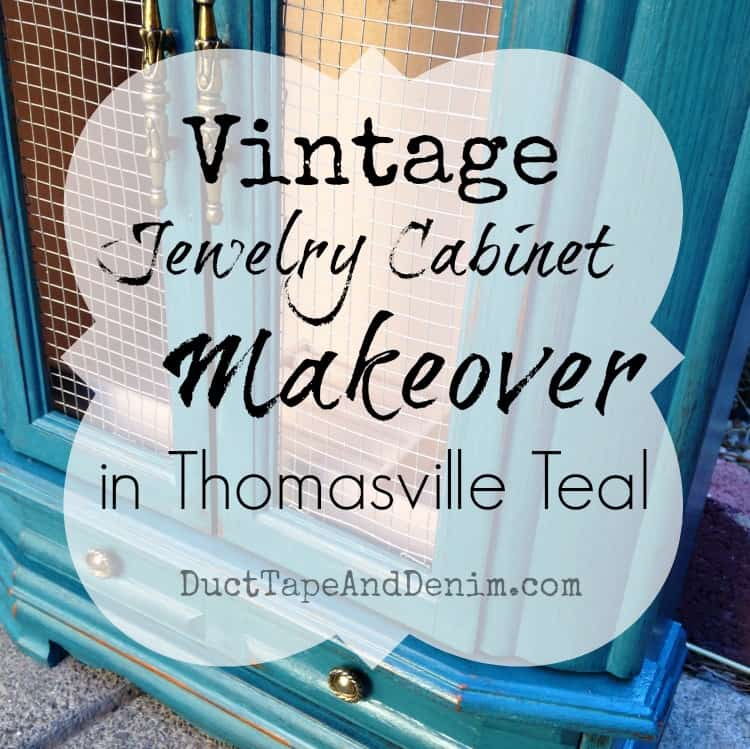 Vintage jewelry cabinet makeover in Thomasville Teal | DuctTapeAndDenim.com