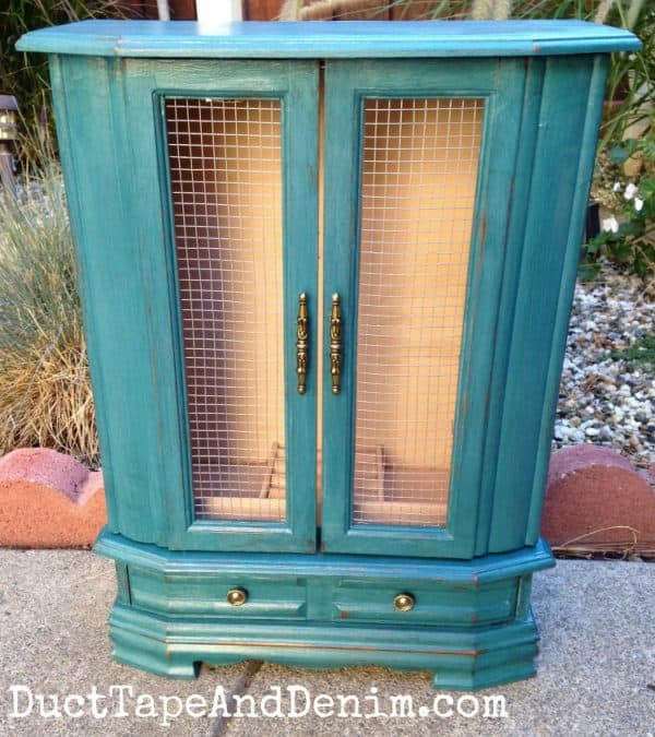 Vintage jewelry cabinet makeover with CeCe Caldwell's Thomasville Teal natural chalk and clay paint