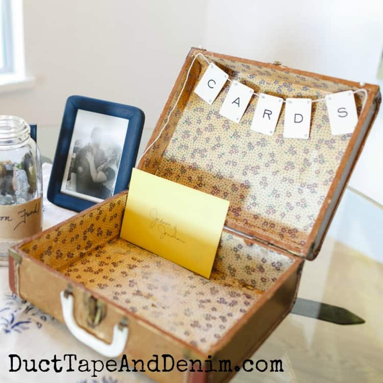 DIY Wedding Box for Cards from a Vintage Suitcase + Card Garland
