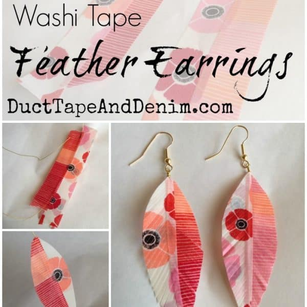 Washi tape feather earrings on DuctTapeAndDenim.com