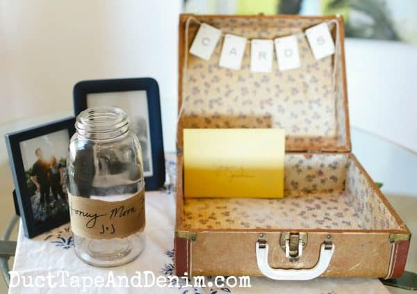 Wedding CARDS vintage suitcase. Easy DIY craft! | DuctTapeAndDenim.com