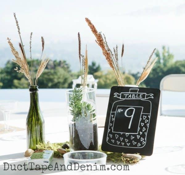 Wedding centerpiece, table 9 chalkboard sign | DuctTapeAndDenim.com