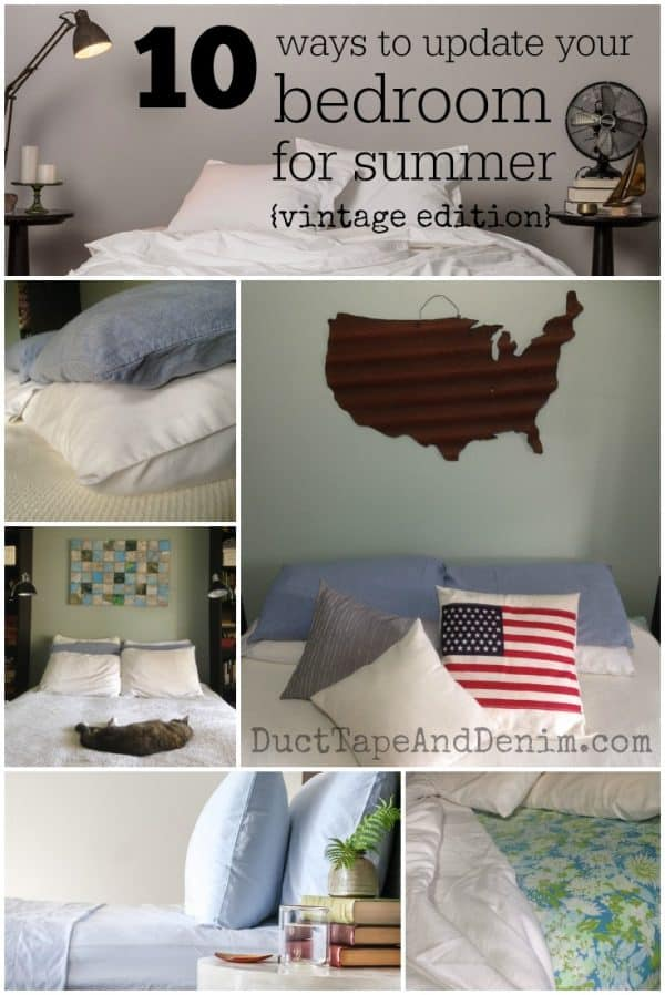 10 ways to update your bedroom for summer (collage) vintage edition. Simple ideas to use vintage pieces in home decor. | DuctTapeAndDenim.com