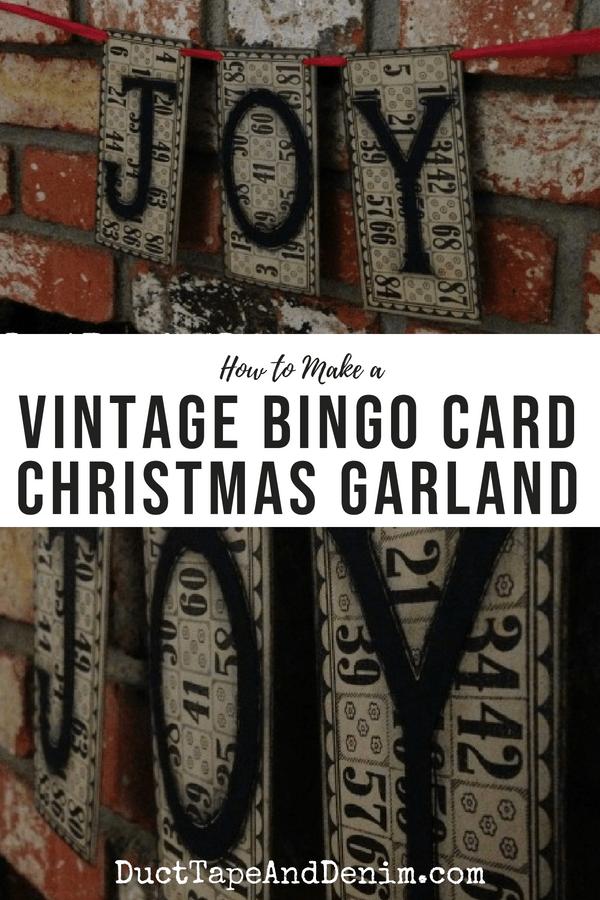 JOY Vintage Bingo Card Christmas Garland, collage 1
