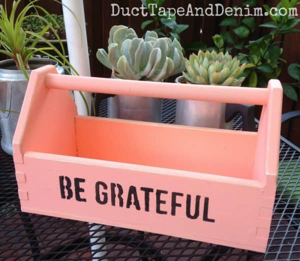 Completed tool box project with DecoArts Chalky Finish Paint in Smitten | DuctTapeAndDenim.com