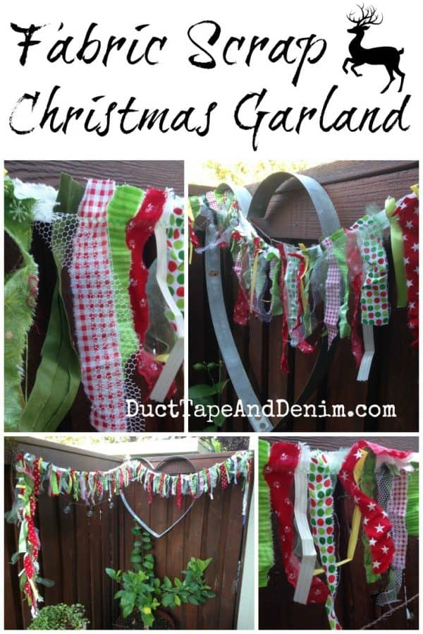 Scrap Fabric Christmas Garland and more tutorials on DuctTapeAndDenim.com