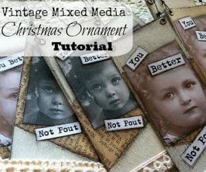 Mixed media Christmas ornaments tutorial