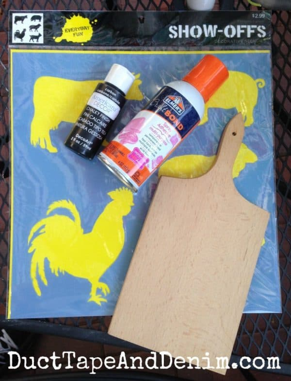 Supplies needed for my rooster cutting board | DuctTapeAndDenim.com