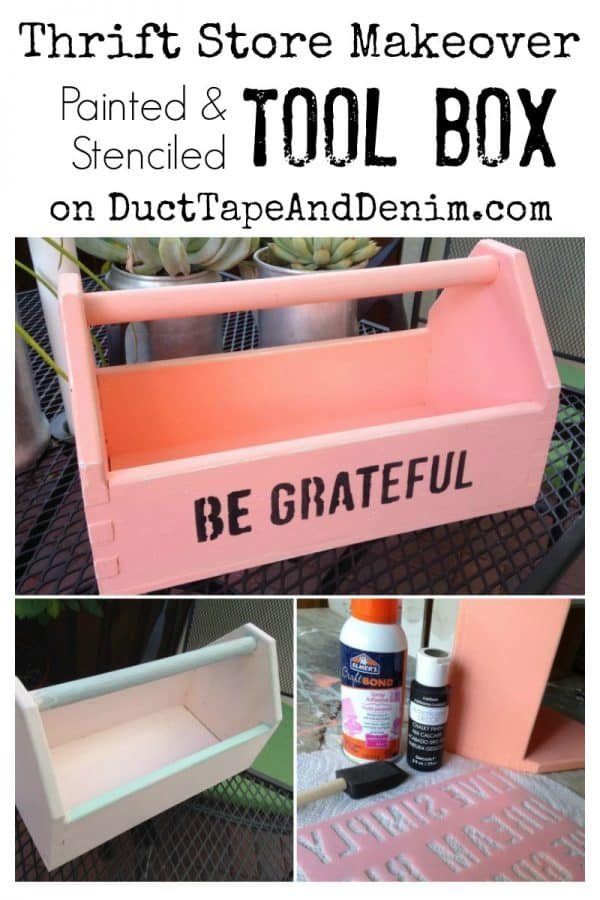 Thrift Store Makeover Painted and Stenciled Tool Box on DuctTapeAndDenim.com