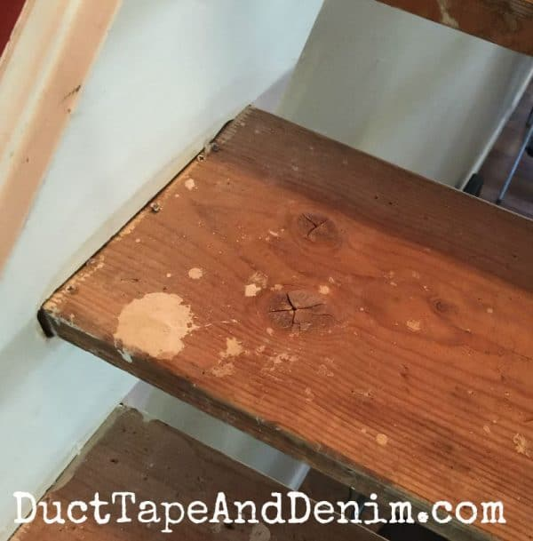 What our stairs looked like when we removed the carpet | DuctTapeAndDenim.com