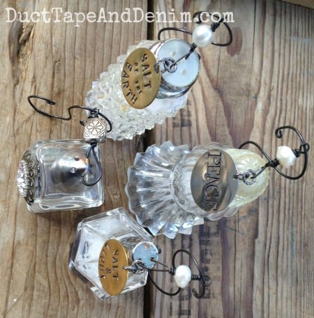Wires through the top of vintage salt shaker Christmas ornaments | DuctTapeAndDenim.com
