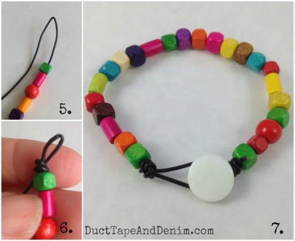 Wood bead and leather bracelet DIY tutorial | DuctTapeAndDenim.com